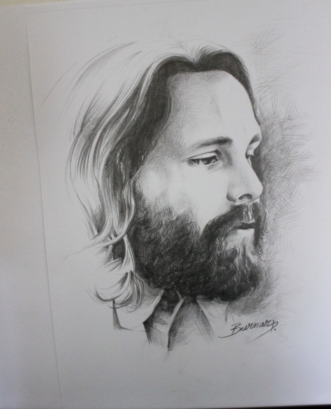 Jim Morrison portrait - drawn by Daniel Burnar